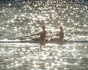 Aiguebelette, FRANCE,  Double scull, caught in the reflection of the water creating spectral high lights   2015 FISA World Rowing Championships, Venue, Lake Aiguebelette - Savoie. <br /> <br /> Saturday  05/09/2015  [Mandatory Credit. Peter SPURRIER/Intersport Images]. © Peter SPURRIER, Atmospheric, Rowing