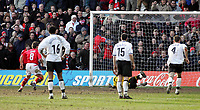 Photo: Paul Thomas. Nottingham Forest v Derby County. Forest Ground, Nottingham. Coca Cola Championship. 26/02/2005. Forest's Paul Evans sends keeper Lee Camp the wrong way to score from the penalty spot.
