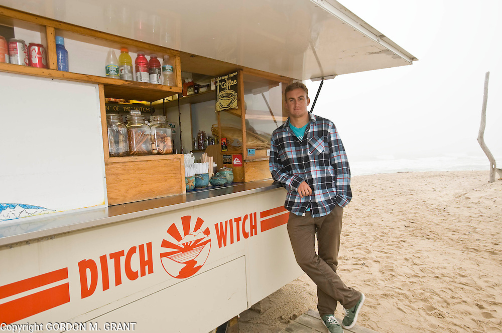 Grant Monahan stands in front of his families food cart business, The Ditch Witch, at Ditch Plains Beach in Montauk Tuesday afternoon.  (May 24, 2011)