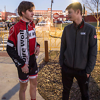 WOODSTOCK, VA - MAR 3: Ben chats with Riley Sheehan, right, of the LUX/Stradling junior development team, during race registration on Friday, Mar. 3, 2017 in Woodstock, Ga. Ben had met Riley in 2016 at a USA Cycling Talent ID camp and the two quickly bonded. (Photo by Jay Westcott/The News & Advance)