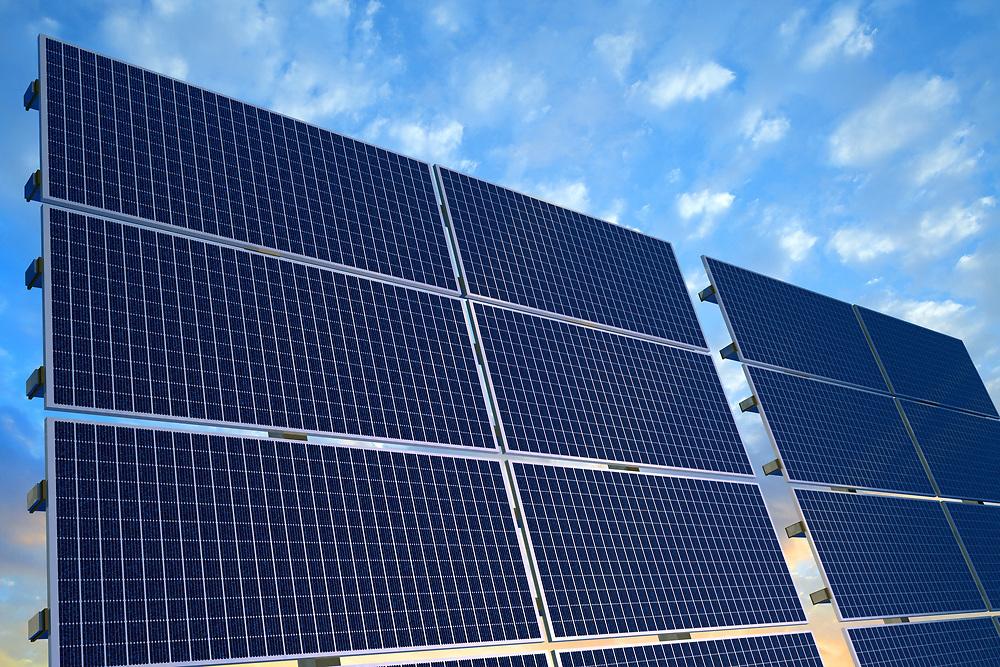 3D rendering of solar panels