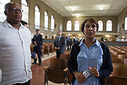 "Musa Ngqungwana, left, and Talise Trevigne warm up in the mess hall at Attica Correctional Facility in Attica, New York on Tuesday, July 25, 2017. The Glimmerglass Festival, an opera company in Cooperstown, New York, performed songs from George Gershwin's ""Porgy and Bess"" for inmates."