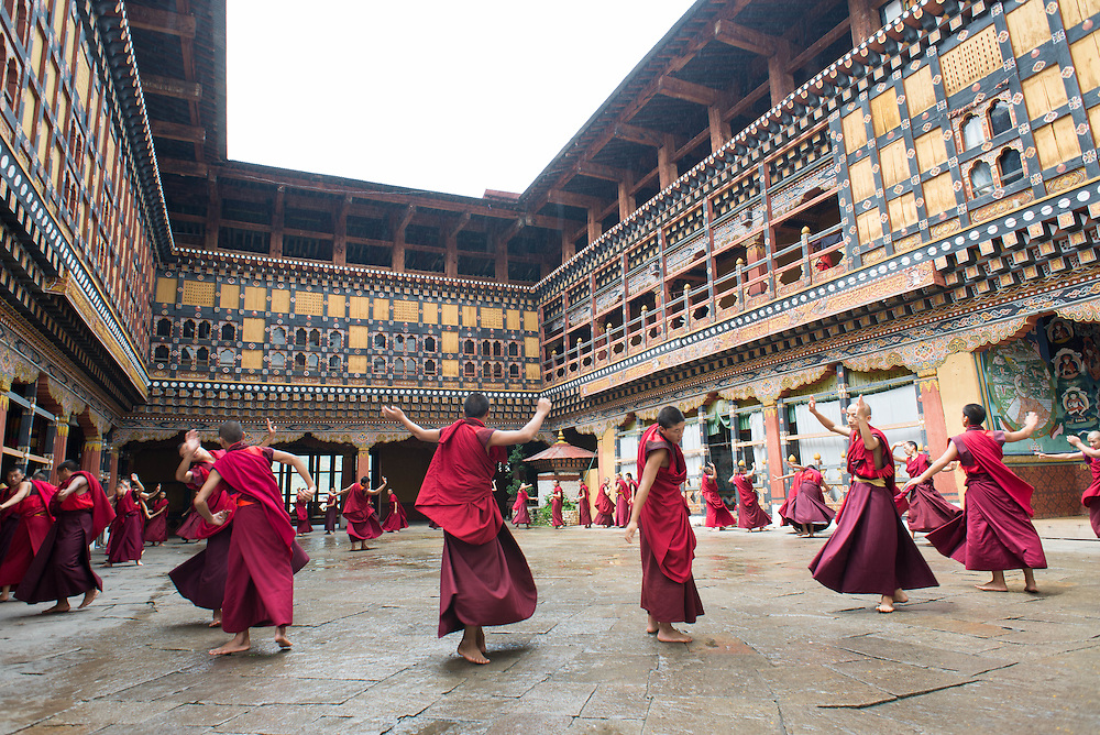 Dancing monks, Paro, Bhutan<br />