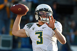 November 13, 2010; Berkeley, CA, USA;  Oregon Ducks quarterback Bryan Bennett (3) warms up before the game against the California Golden Bears at Memorial Stadium. Oregon defeated California 15-13.