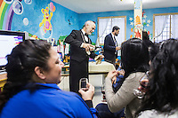 LECCE, ITALY - 10 NOVEMBER 2016: (L-R) Sommelier Roberto Giannone pours wine to inmates as Marco Albanese, a policeman for 19 years and trained sommelier for five , volunteers to lecture on the arts and crafts of wine tasting and serving, in the largest penitentiary in the southern Italian region of Apulia, holding 1,004 inmates in the outskirts of Lecce, Italy, on November 10th 2016.<br /> <br /> Here a group of ten high-security female inmates and aspiring sommeliers , some of which are married to mafia mobsters or have been convicted for criminal association (crimes carrying up to to decades of jail time), are taking a course of eight lessons to learn how to taste, choose and serve local wines.<br /> <br /> The classes are part of a wide-ranging educational program to teach inmates new professional skills, as well as help them develop a bond with the region they live in.<br /> <br /> Since the 1970s, Italian norms have been providing for reeducation and a personalized approach to detention. However, the lack of funds to rehabilitate inmates, alongside the chronic overcrowding of Italian prisons, have created a reality of thousands of incarcerated men and women with little to do all day long. Especially those with a serious criminal record, experts said, need dedicated therapy and professionals who can help them.
