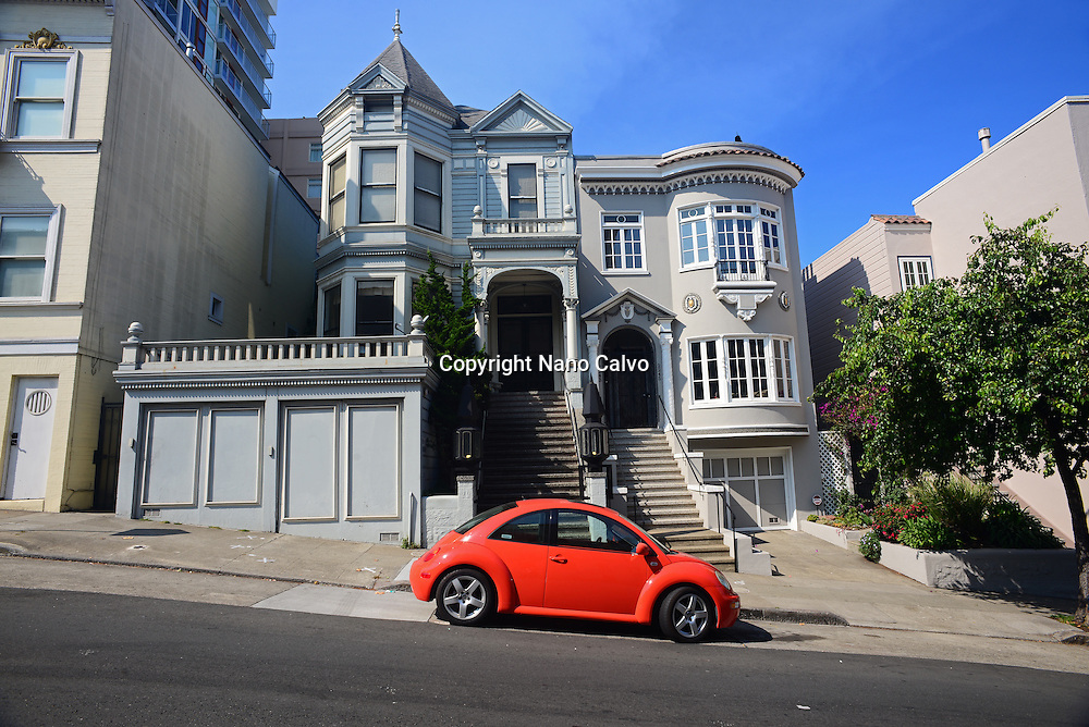New Volkswagen Beetle parked in streets of San Francisco, California.