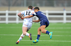 Harry Ascherl of Bristol Bears Academy U18 tackles Archie Hill of Exeter Chiefs U18-Mandatory by-line: Nizaam Jones/JMP- 05/01/2019 - RUGBY - North Bristol RFC - Bristol, England - Bristol Academy U18 v Exeter Chiefs U18-U18 Academy League