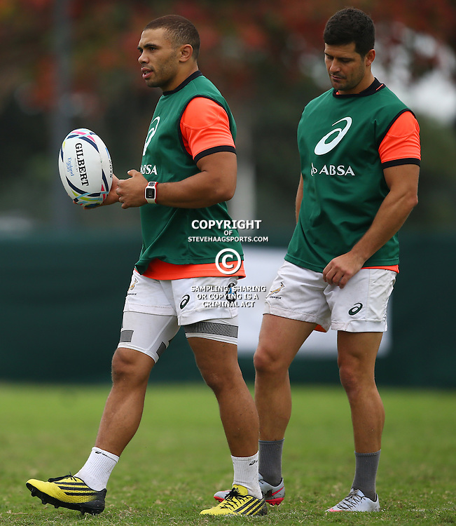 DURBAN, SOUTH AFRICA - SEPTEMBER 01: Bryan Habana with Morne Steyn during the South African national rugby team training session at Peoples Park on September 01, 2015 in Durban, South Africa. (Photo by Steve Haag/Gallo Images)