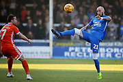 Peterborough Utd forward Marcus Maddison (21) controls the ball acrobatically during the EFL Sky Bet League 1 match between Peterborough United and Shrewsbury Town at London Road, Peterborough, England on 23 February 2019.