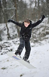 © Licensed to London News Pictures. 20 January 2013. Chipping Norton, Oxfordshire. Olly Aldworth (13) Fun in the snow at Chipping Norton. Photo credit : MarkHemsworth/LNP