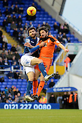 Birmingham City midfielder Jon Toral and Ipswich Town midfielder Jonathan Douglas challenge for a header during the Sky Bet Championship match between Birmingham City and Ipswich Town at St Andrews, Birmingham, England on 23 January 2016. Photo by Alan Franklin.