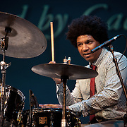 Justin Brown, 2nd place finisher of the Thelonius Monk International Jazz Drums competition, performs at the 25th annual Thelonious Monk International Jazz Competition and ?Women, Music and Diplomacy? All-Star Gala Concert at the Kennedy Center in Washington, DC.