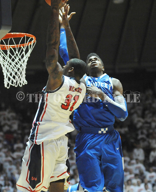 "Kentucky's Nerlens Noel (3) defends Mississippi's Murphy Holloway (31) at the C.M. ""Tad"" Smith Coliseum on Tuesday, January 29, 2013. Noel had 12 blocks as Kentucky won 87-74. (AP Photo/Oxford Eagle, Bruce Newman).."