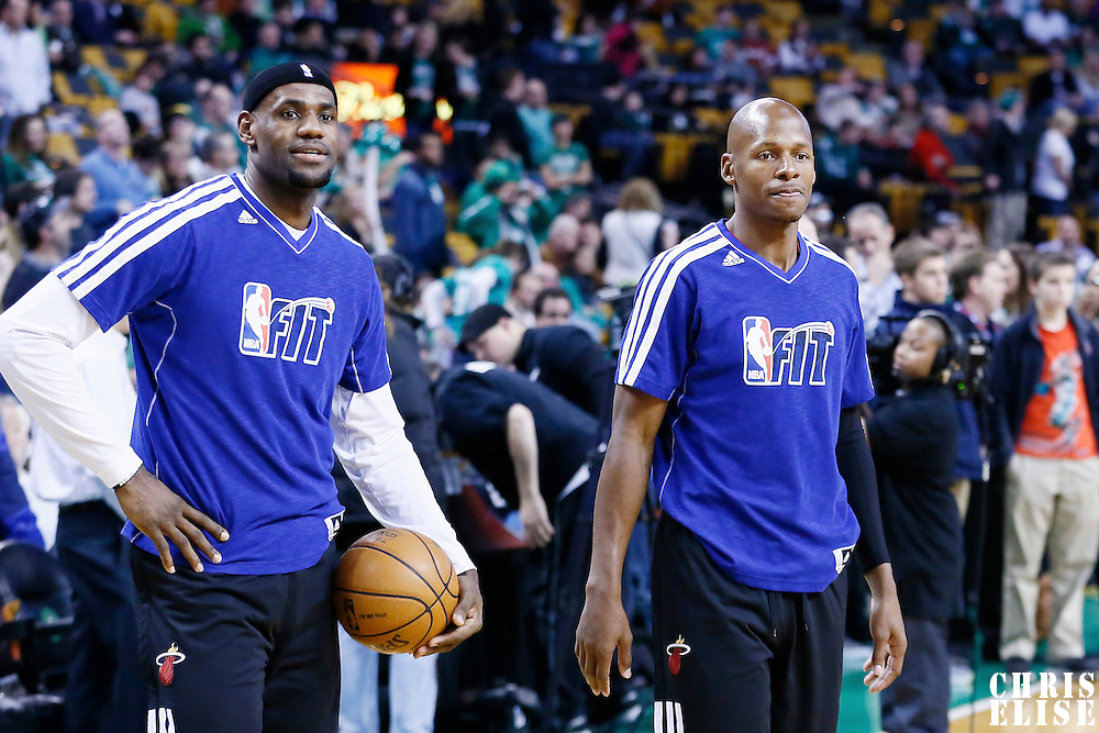 27 January 2013: Miami Heat shooting guard Ray Allen (34) is seen next to Miami Heat small forward LeBron James (6) prior to the Boston Celtics 100-98  2OT victory over the Miami Heat at the TD Garden, Boston, Massachusetts, USA.
