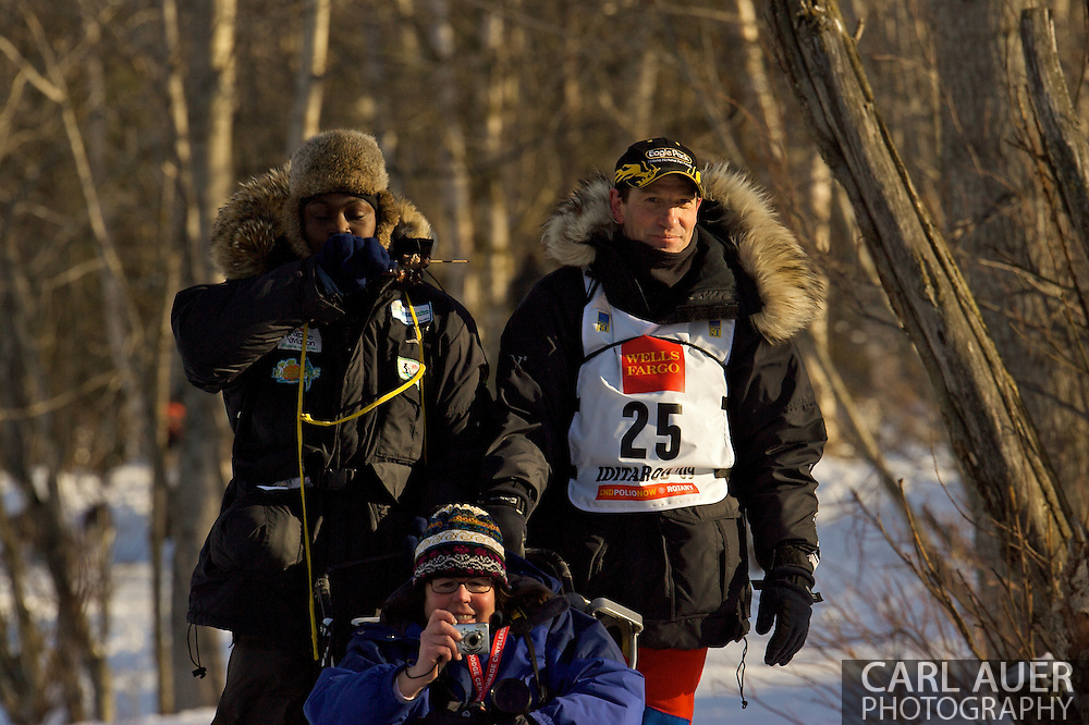 March 7th, 2009:  Anchorage, Alaska - Hans Gatt of Whitehorse, Yukon, Canada comes through the woods next to Behm Lake during the ceremonial start of the 2009 Iditarod.