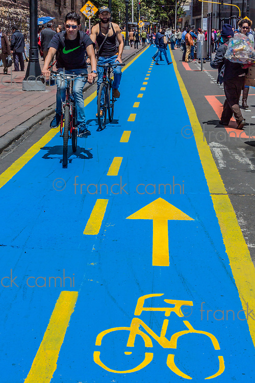 Bogota, Colombia  - February 4, 2017 : cyclist cycling path Carrera Septima in Bogota capital city of Colombia South America
