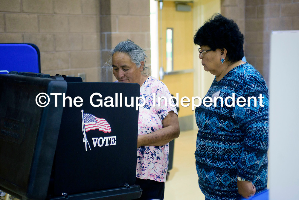 Precint 6 Presiding Judge Hilda John, right, assists Priscilla James with her vote at Twin Lakes Elementary School in Twin Lakes Tuesday.