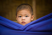 18 FEBRUARY 2008 -- BONG TI, KANCHANABURI, THAILAND: A Burmese child in a hammock at the Bamboo School in Bong Ti, Thailand, about 40 miles from the provincial capital of Kanchanaburi. Sixty three children, most members of the Karen hilltribe, a persecuted ethnic minority in Burma, live at the school under the care of Catherine Riley-Bryan, whom the locals call MomoCat (Momo is the Karen hilltribe word for mother). She provides housing, food and medical care for the kids and helps them get enrolled in nearby Thai public schools. Her compound is about a half mile from the Thai-Burma border. She also helps nearby Karen refugee villages by digging water wells for them and providing medical care.  Photo by Jack Kurtz