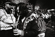 Raver playing Recorder at Freedom to Party Protest, Shoreditch, London, 2016