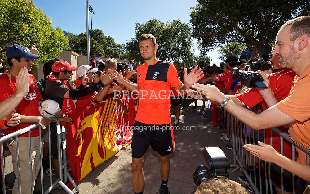 STANFORD, USA - Sunday, July 24, 2016: Liverpool's Dejan Lovren arrives for training session in the Laird Q. Cagan Stadium at Stanford University on day four of the club's USA Pre-season Tour. (Pic by David Rawcliffe/Propaganda)