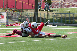 02 October 2010: Matt Brown loses the ball in the end zone as he is hit by Chance Coda during an NCAA football game where the Southern Illinois Salukis beat the Illinois State Redbirds 3817 at Hancock Stadium in Normal Illinois.