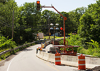 Meredith Center Bridge remains one lane traffic during construction.  (Karen Bobotas/for the Laconia Daily Sun)