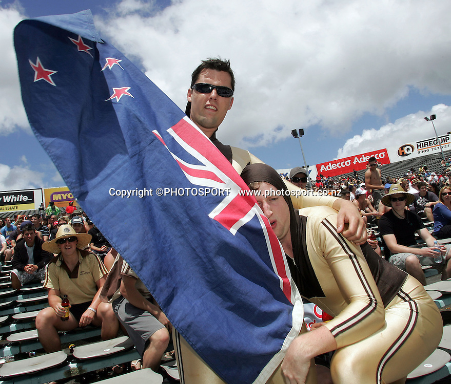 Members of the beige brigade. New Zealand Black Caps v Bangladesh, 1st One Day International, Eden Park, Auckland, New Zealand. Wednesday 26th December 2007. Photo : Chris Skelton/PHOTOSPORT