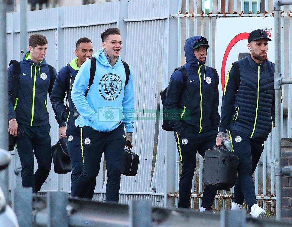 7.12.18……… The Manchester City team get the train to London on Friday for their Premier League match against Chelsea………. Ederson, Gabriel Jesus, Danilo, John Stones and Nikoilas Otamendi.