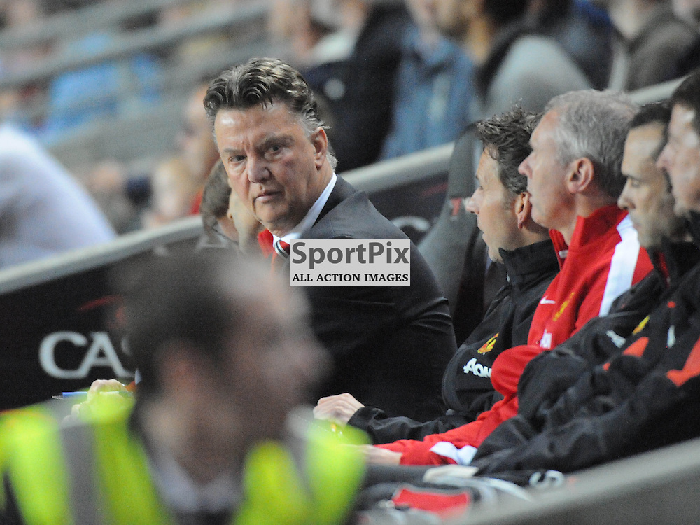 Man Utd Boss Louis van Gaar, can't believe it as is side go down 4-0 at MK Dons, Mk Dons v Manchester United, Capital One Cup,  Milton Keynes, MK Stadium, Tuesday 26th August 2014