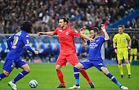 Zlatan IBRAHIMOVIC / Mathieu PEYBERNES    - 11.04.2015 -  Bastia / PSG - Finale de la Coupe de la Ligue 2015<br />Photo : Dave Winter / Icon Sport