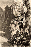 Members of the Alpine Club climbing in Switzerland. Engraving published London 1882.