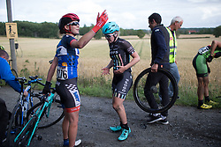Natalie Grinczer (GBR) of Team WNT asks her team for a new bike on Stage 2 of the Ladies Tour of Norway - a 140.4 km road race, between Sarpsborg and Fredrikstad on August 19, 2017, in Ostfold, Norway. (Photo by Balint Hamvas/Velofocus.com)