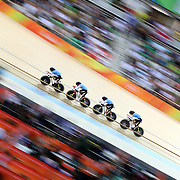 Track Cycling - Olympics: Day 8  Allison Beveridge #39, Jasmin Glaesser #40, Kirsti Lay #169 and Georgia Simmerling #171 of Canada in action in the Women's Team Pursuit Bronze Medal Final during the track cycling competition at the Rio Olympic Velodrome August 12, 2016 in Rio de Janeiro, Brazil. (Photo by Tim Clayton/Corbis via Getty Images)