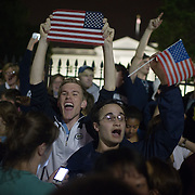 Crowds celebrate the death of Osama bin Laden in front of the White House on Sunday, May 1, 2011  in Washington.