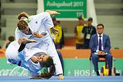 Ashgabat, Turkmenistan - 2017 September 16:<br /> while Ju Jitsu competition during 2017 Ashgabat 5th Asian Indoor &amp; Martial Arts Games at Martial Arts Arena (MAA) at Ashgabat Olympic Complex on September 16, 2017 in Ashgabat, Turkmenistan.<br /> <br /> Photo by &copy; Adam Nurkiewicz / Laurel Photo Services