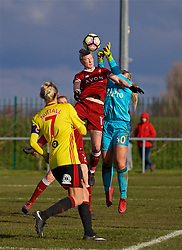 LIVERPOOL, ENGLAND - Sunday, February 4, 2018: Liverpool's Beth England and Watford's goalkeeper Fran Kitching during the Women's FA Cup 4th Round match between Liverpool FC Ladies and Watford FC Ladies at Walton Hall Park. (Pic by David Rawcliffe/Propaganda)