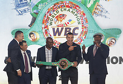 October 1, 2018 - Kiev, Ukraine - (L-R) WBC President Mauricio Sulaiman, Kiev's Mayor and former heavyweight boxing champion Vitali Klitschko,ex boxing champion of the World Evander Holyfield,Ukrainian heavyweight boxing champion Vladimir Klitschko and ex boxing champion Lennox Lewis pose during awarding of Ukrainian heavyweight boxing champion Vladimir Klitschko by the belt of the honorary WBC world champion, at an official opening of the 56th WBC ( World Boxing Council ) Convention in Kiev, Ukraine, 01 October, 2018. The 56th WBC Convention takes place in Kiev from September 30 to October 05. The event participate of boxing legends Lennox Lewis, Evander Holyfield, Eric Morales, Alexander Usik, Vitali Klitschko and about 700 congress participants from 160 countries. (Credit Image: © Str/NurPhoto/ZUMA Press)