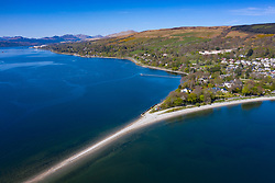 View of spit of land at Rhu village on the Gare Loch in Argyll and Bute, Scotland, UK