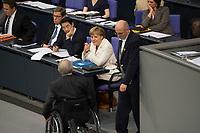 29 JUN 2012, BERLIN/GERMANY:<br /> Guido Westerwelle, FDP, Bundesaussenminister, Philipp Roesler, FDP, Bundeswirtschaftsminister, Wolfgang Schaeuble, FDP, Bundesfinanzminister, und Angela Merkel, CDU, Bundeskanzlerin, nach der Rede von Schaeuble, (v.L.n.R.), Bundestagsdebatte zum Fiskalpakt, zum dauerhaften Euro-Rettungsschirm ESM, zur ESM-Finanzierung und zur Aenderung des Vertrags über die Arbeitsweise der Europaeischen Union , Plenum, Deutscher Bundestag<br /> IMAGE: 20120629-01-021<br /> KEYWORDS: Fiskalpakt, dauerhafter Rettungsschirm EFSM, Fiskalvertrag, Einrichtung des Europäischen Stabilitätsmechanismus, Europäischen Stabilitätsmechanismus ESM-Finanzierungsgesetz ESMF, Stabilitaetsunion, Philipp Rösler, Wolfgang Schäuble,
