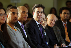 © Licenced to London News Pictures. 12/03/2014. London. UK.  <br /> Labour Party leader Ed Miliband is pictured alongside Shadow Business Secretary Chuka Umunna before giving a speech on the economy at London Business School in London, March 12th 2014. The leader of the opposition has said that a future Labour government would not call an in/out referendum on the UK's membership of the EU unless it was being asked to transfer more powers to Brussels.<br /> Photo Credit: Susannah Ireland