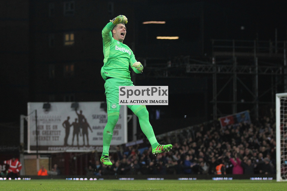Adrian of West Ham United celebrates the opening goal during the warm up before the Barclays Premier League game against Manchester City. (c) Joshua Smith | SportPix.org.uk