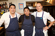 New York, NY - November 9, 2017: Chefs Chris Kajioka<br />  and Anthony Rush of Senia and Ondine in Honolulu present dinner at the James Beard House.<br /> <br /> <br /> CREDIT: Clay Williams for The James Beard Foundation.<br /> <br /> &copy; Clay Williams / claywilliamsphoto.com