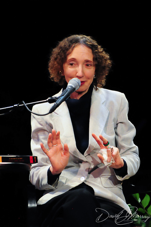 Author Joyce Carol Oates speaks on stage at The Music Hall' in a Writers on a New England Stage production