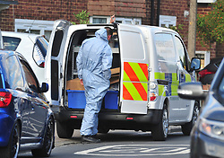 © Licensed to London News Pictures. 19/08/2018<br /> New Eltham, UK. Police and forensics at the scene of a Hammer attack on two women in New Eltham, south east London. Police are currently searching for 27 year old Joe Xuereb in connection with the attack. <br /> Photo credit: Grant Falvey/LNP