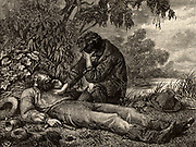 Burke and Wills Expedition to explore the interior of Australia (1860-1861). Death of Robert O'Hara Burke (1820-1861) Irish explorer and leader of the expedition. John King (1838-1872) taking leave of Burke's body.  King was the first European to cross Australia and survive.  Burke and Wills died of starvation, while King was found by friendly natives and cared for until a rescue party arrived. Engraving from 'Heroes of Britain and Peace and War' by Edwin Hodder  (London, 1880).