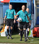 Darren Drysdale leads the teams out during the Sky Bet League 1 match between Bury and Port Vale at Gigg Lane, Bury, England on 19 September 2015. Photo by Mark Pollitt.