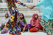 Old Women in Nizamuddin Dargah, a mausoleum of one of the world's most famous Sufi clerics, Nizamuddin Auliya. Delhi, India 2013