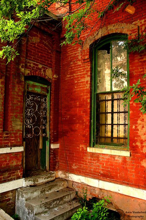 Complementary colored window and door.