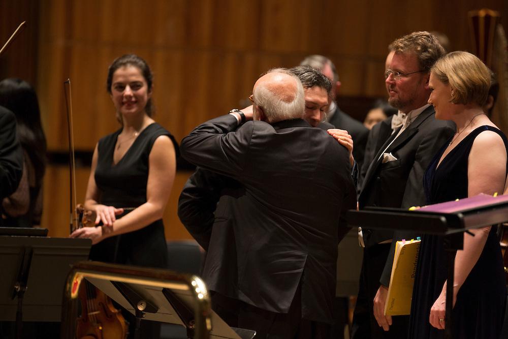 Polish composer Krzysztof Penderecki on stage