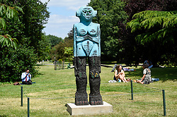 """© Licensed to London News Pictures. 03/07/2019. LONDON, UK. """"Receiver"""", 2019, by Huma Bhabha. Frieze Sculpture opens in Regent's Park, London's largest free display of outdoor art.  Works from 23 international artists are on display 3 July to 6 October 2019.  Photo credit: Stephen Chung/LNP"""